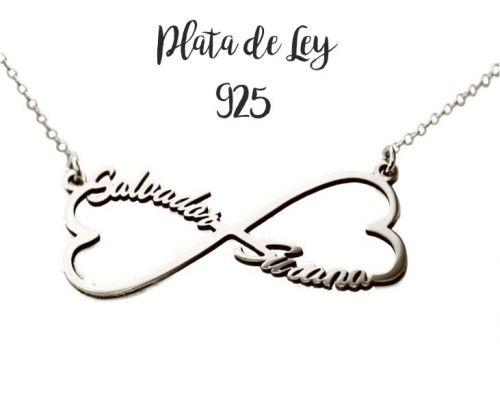 Collar Infinito Corazón con dos nombres en plata de ley más cadena mi collar con nombre