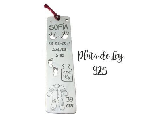 Marcapáginas Natalicio en Plata de Ley 925 con los datos de tu Bebé corte plata 40 grados a la sombra mi collar con nombre soufeel