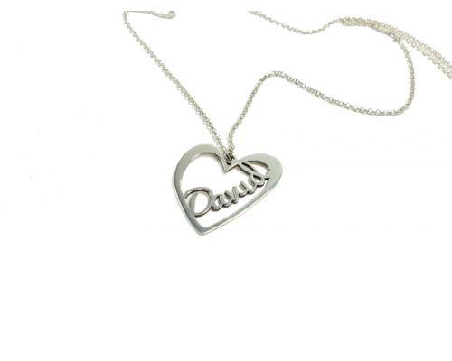 Colgante Corazón con nombre en plata de ley más cadena y cierres en plata de ley 925  mi collar con nombre