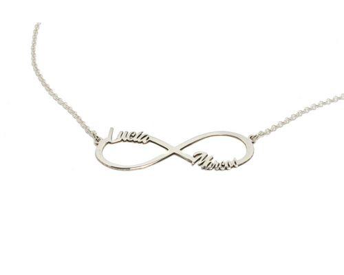 Collar infinito personalizado con dos nombres en plata de ley más cadena y cierres en plata de ley 925 mi collar con nombre