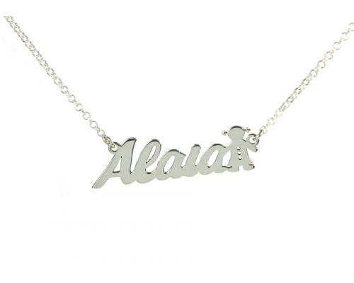 Collar personalizado con nombre + niña en plata de ley 925 plata de ley mi collar con nombre