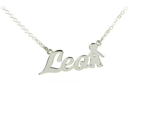 Collar personalizado con nombre + niño en plata de ley 925 colgante plata de ley  mi collar con nombre