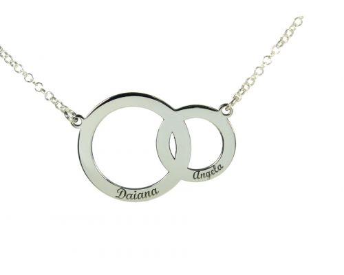 Collar Aros con dos nombres en plata de ley más cadena y cierres en plata de ley 925  mi collar nombre