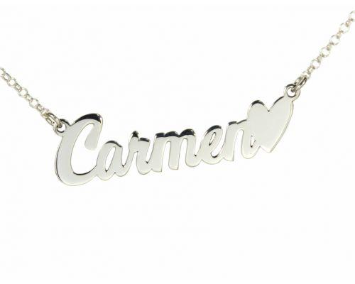 Collar personalizado con nombre corazón en plata de ley 925 mi collar con nombre plata 40