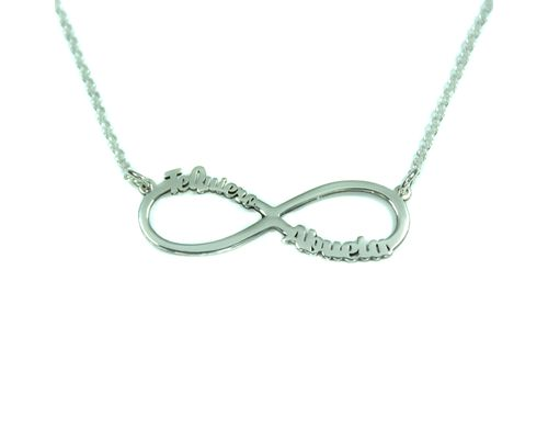 Collar infinito con dos nombres en plata de ley  mi collar con nombre