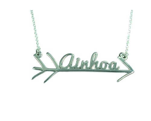 Collar personalizado flecha con nombre en plata de ley 925 mi collar con nombre plata